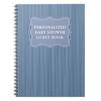 Personalized baby shower guestbook | Blue notebook