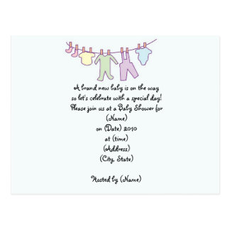 Personalized Baby Shower Invitation-Clothesline Postcard