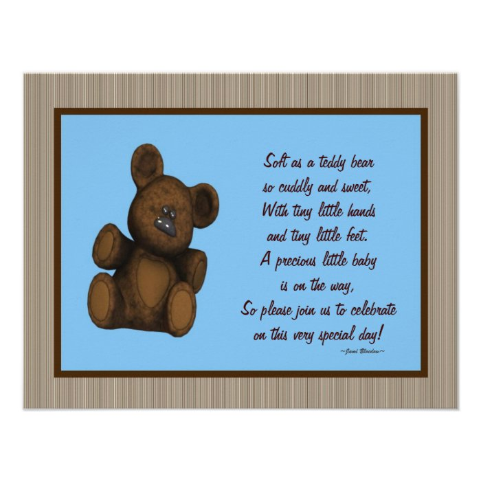 personalized baby shower invitations teddy bear