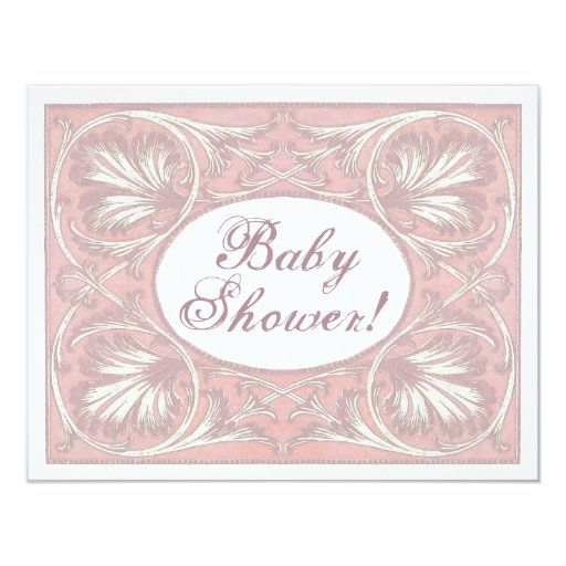 Personalized Baby Shower Invites, Vintage Blush 4.25x5.5 Paper Invitation Card