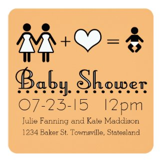 Personalized Baby Shower Modern Icon Mom and Mom 5.25x5.25 Square Paper Invitation Card