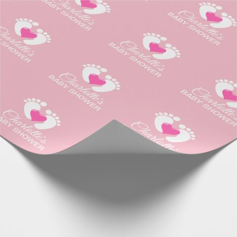 Personalized BABY SHOWER Pink Feet Heart GIRL Wrapping Paper