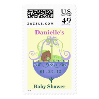 Personalized Baby Shower Postage Stamp Ethnic