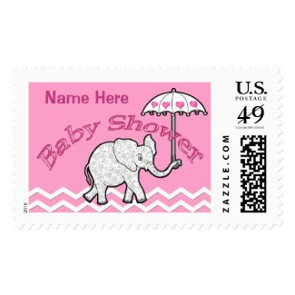 Personalized Baby Shower Postage Stamps Elephant