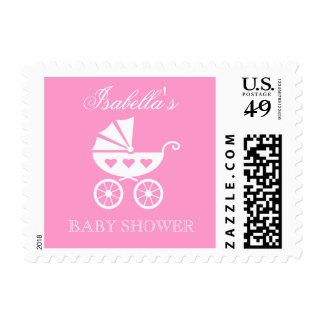 Personalized baby shower stamp with cute carriage
