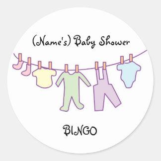 Personalized Baby Shower Sticker-Clothesline Classic Round Sticker