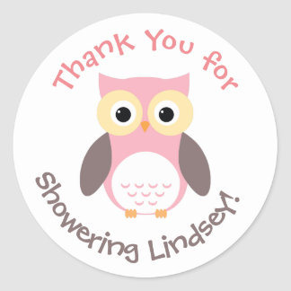 Personalized Baby Shower Stickers- Owl Theme Classic Round Sticker