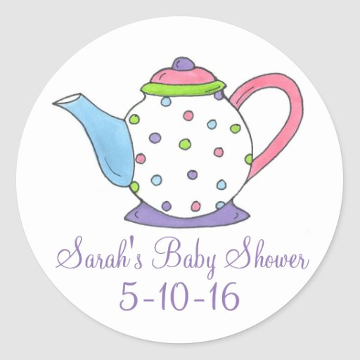 personalized baby shower tea party teapot stickers zazzle
