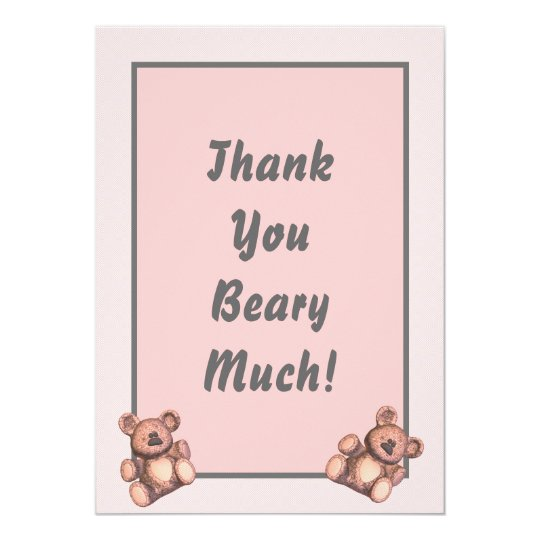 Personalized Baby shower thank you card pink bears