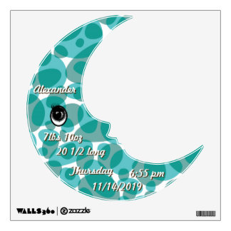 Personalized  Baby Stats Cute Moon Wall Decal