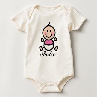 Personalized Baby Stick Figure Girl Baby Bodysuit