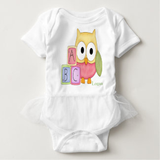 Personalized Baby Tutu Bodysuit Owl Baby Blocks