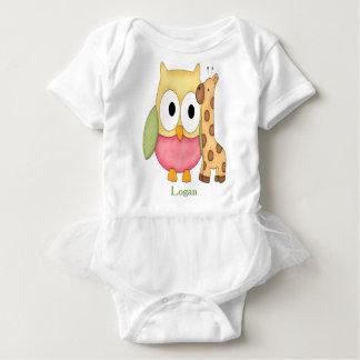 Personalized Baby Tutu Bodysuit Owl with Giraffe
