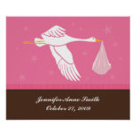 Personalized Baby Wall Art - Stork/Pink & Brown