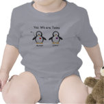 Personalized Baby Yes, We Are Twins Penguin Tshirts