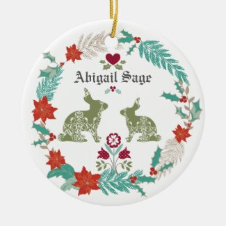 Personalized Baby's 1st Christmas Bunny Folk Art Ceramic Ornament