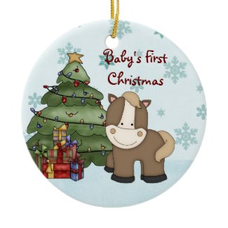 Personalized Baby's 1st Christmas Horse Ornament