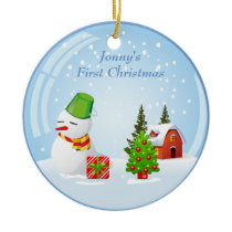 Personalized Baby's First Christmas Cute Snowball Ceramic Ornament