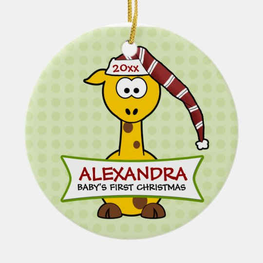 Personalized Baby's First Christmas Giraffe Ceramic Ornament