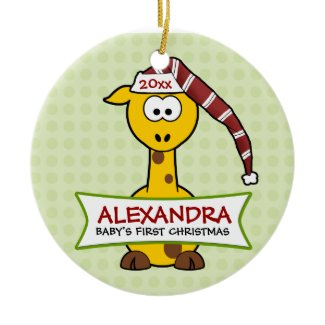 Personalized Baby's First Christmas Giraffe ornament