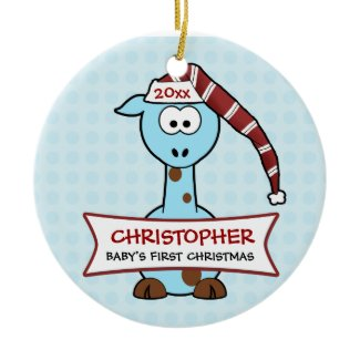 Personalized Baby's First Christmas Giraffe Ornaments