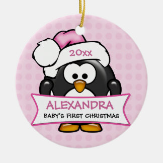 Personalized Baby's First Christmas Penguin Ceramic Ornament
