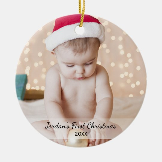 personalized babys first christmas photo name yea ceramic ornament