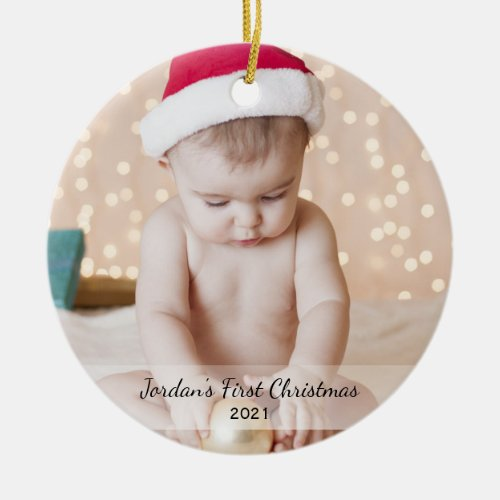 Personalized Babys First Christmas Photo Name Year Ceramic Ornament