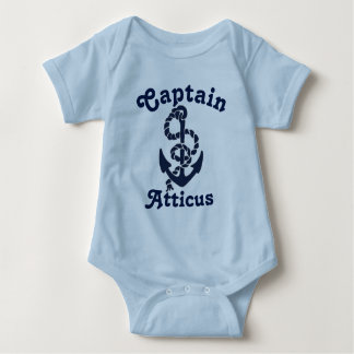 Personalized Babys Name Navy Blue Nautical Captain Baby Bodysuit