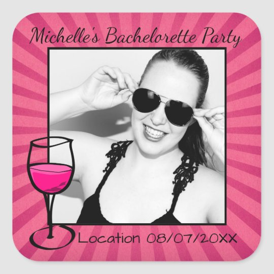 Personalized Bachelorette Frame Square Sticker | Zazzle.com