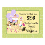 Personalized Bachelorette Party Spa Invitations Postcards