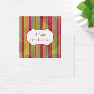Personalized Badge Over Colorful Stripes & Circles Square Business Card