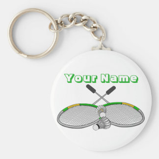 Personalized Badminton Player Crossed Racquets Keychain