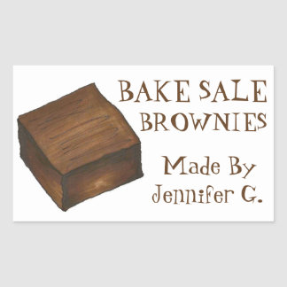 Personalized Bake Sale Brownies Baked By Stickers