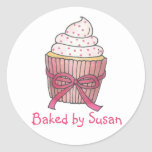 Personalized Baked By Baking Cupcake Cake Stickers