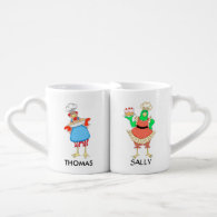 Personalized Baking Chicken and Rooster Mugs Couples Mug