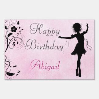 Personalized Ballerina Happy Birthday Yard Sign