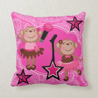 Personalized Ballerina Monkeys Throw Pillow