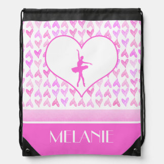 Personalized Ballet Dancer Pink Watercolor Hearts Drawstring Backpack