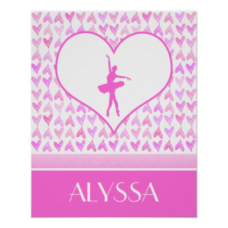 Personalized Ballet Dancer Pink Watercolor Hearts Poster
