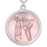 Personalized Ballet Necklace,  Pink Ballerina Toe Round Pendant Necklace