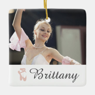 Personalized Ballet Photo Ballerina Name Slippers Ceramic Ornament