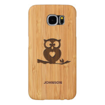 Personalized Bamboo Engraved Look Cute Owl in Tree Samsung Galaxy S6 Case