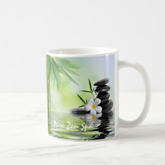 Personalized Bamboo Zen Stones Water Plumeria Coffee Mug