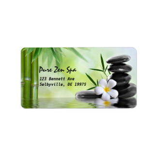 Personalized Bamboo Zen Stones Water Plumeria Label