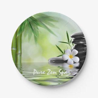 Personalized Bamboo Zen Stones Water Plumeria Paper Plate