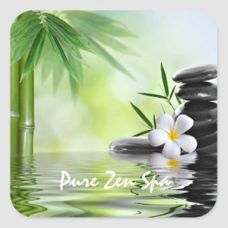 Personalized Bamboo Zen Stones Water Plumeria Square Sticker