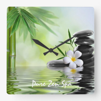 Personalized Bamboo Zen Stones Water Plumeria Square Wall Clock