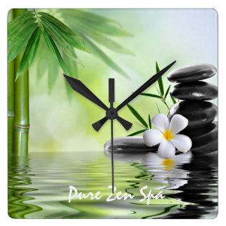 Personalized Bamboo Zen Stones Water Plumeria Square Wall Clock