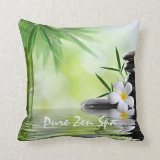 Personalized Bamboo Zen Stones Water Plumeria Throw Pillow